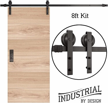 INDUSTRIAL 8ft Single Sliding Barn Door Hardware Set
