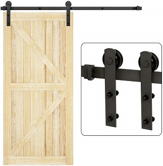 U-MAX 6 Ft I Shape Sliding Barn Door Hardware Kit